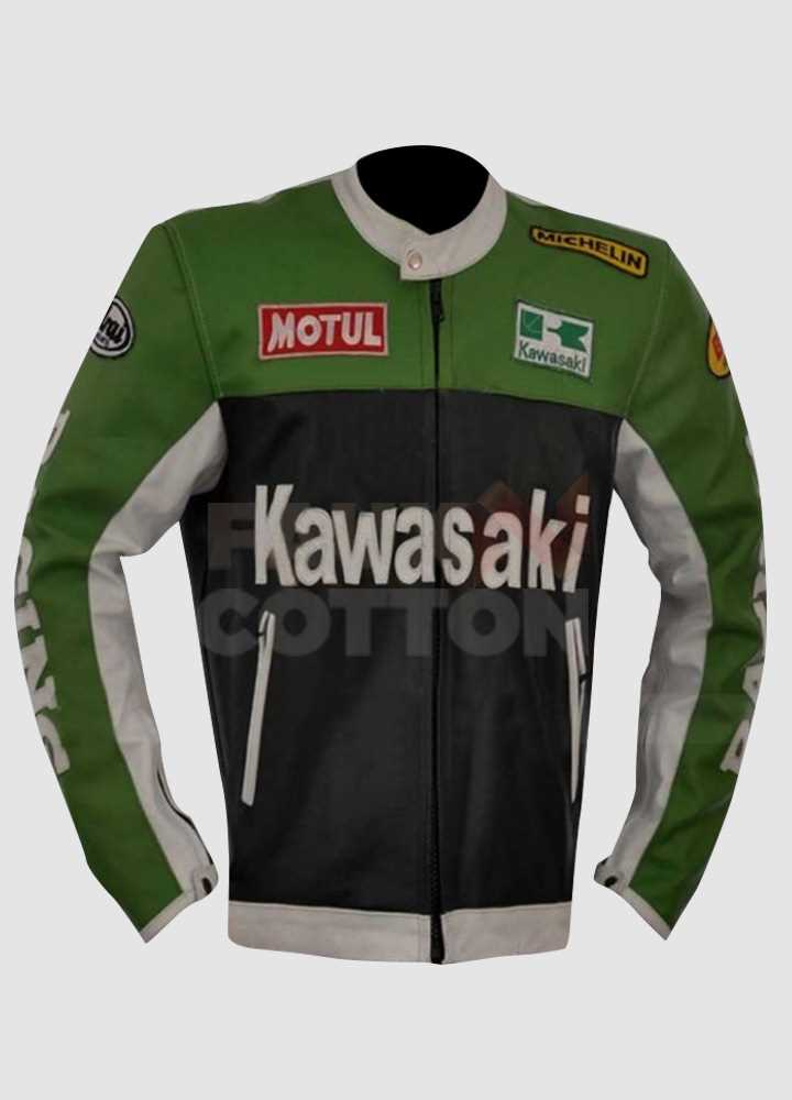 Kawasaki Lime Green & Black Leather Jacket