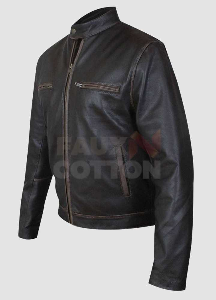 Mark Wahlberg Contraband Chris Farraday Distressed Brown Jacket