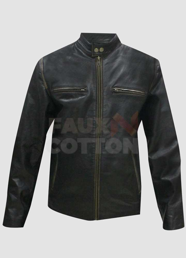 Mark Wahlberg Daddys Home Black Motorcycle Distressed Jacket