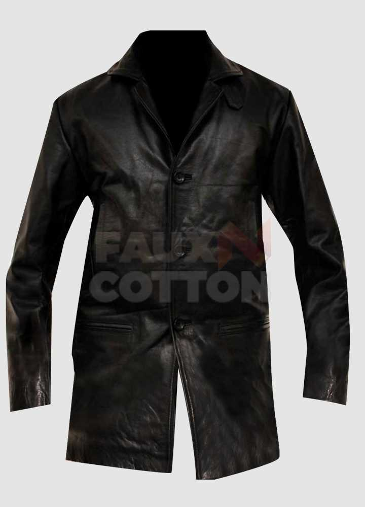 Max Payne Mark Wahlberg Black Leather Jacket/Coat