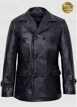 Women's KRIEGSMARINE German Submarine Leather Jacket Pea Coat