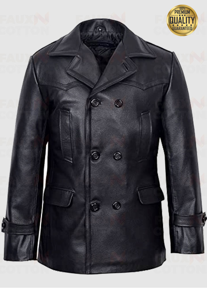 Men's KRIEGSMARINE German Submarine Leather Jacket Pea Coat