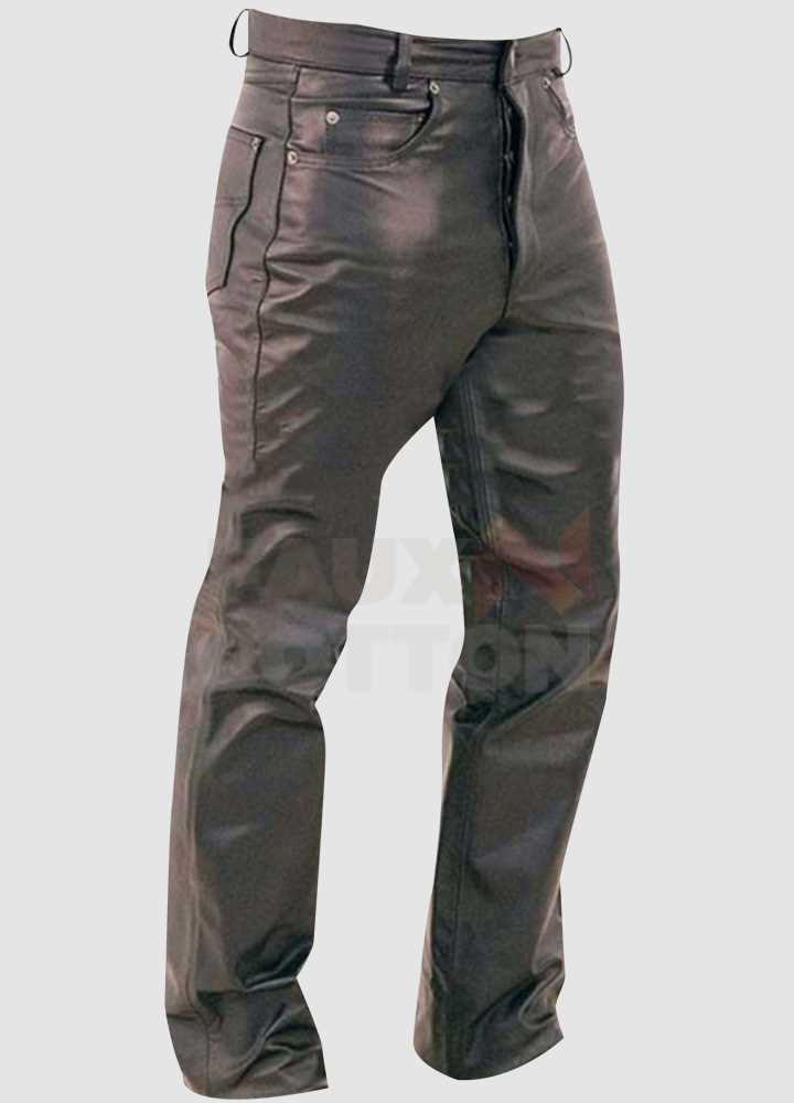 Men's Button Fly Fitted Leather Pants