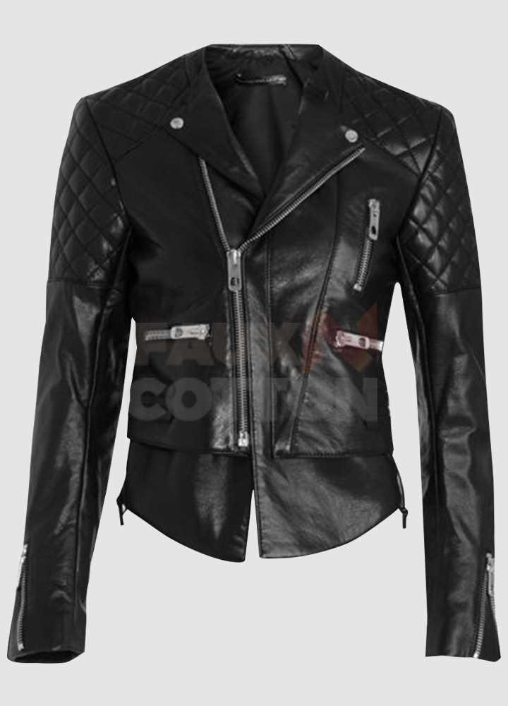 Miranda Kerr Biker Quilted Leather Jacket