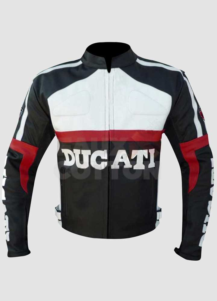 Ducati Corse Black and White Leather Jacket