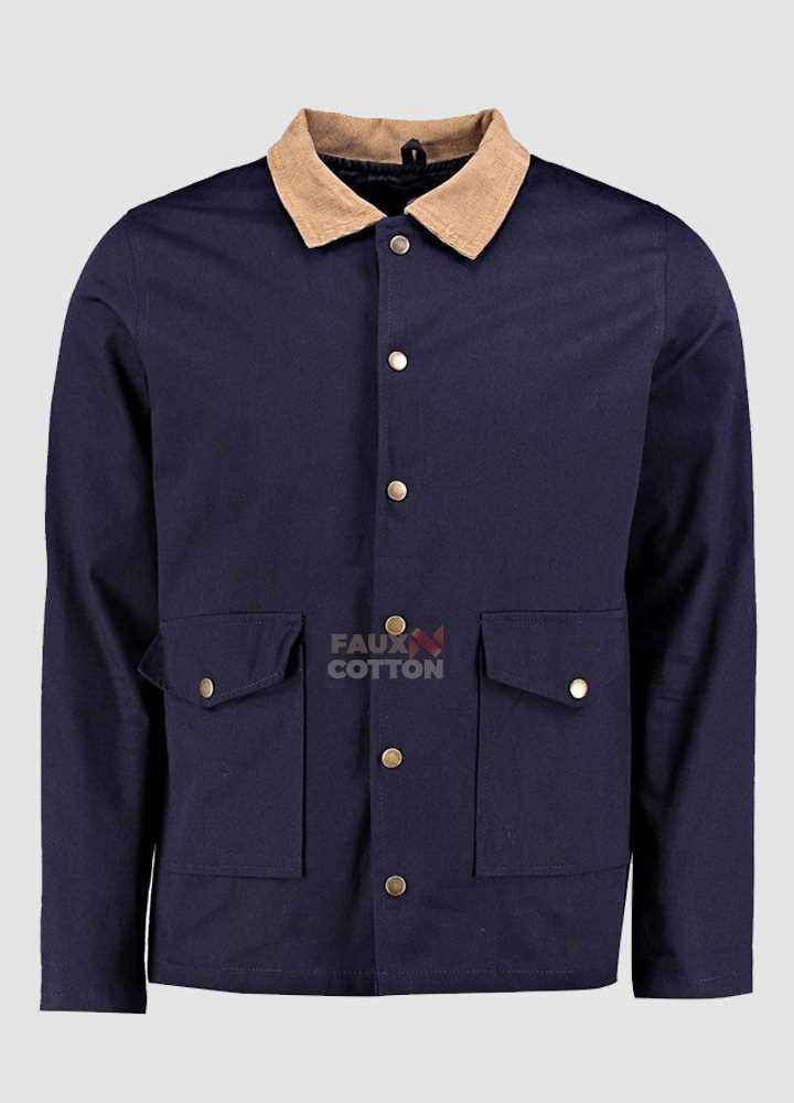 Navy Button Through Trucker Jacket With Cord Collar