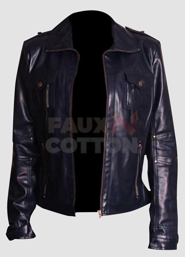 Slim Fit Navy Blue Leather Women's Jacket