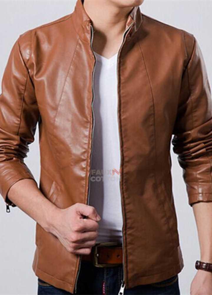 Slim fit brown PU leather jacket for men