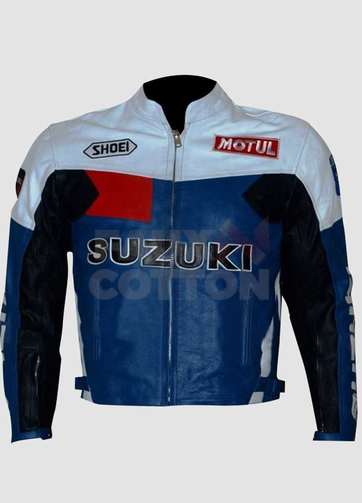Suzuki Blue and White Leather Jacket