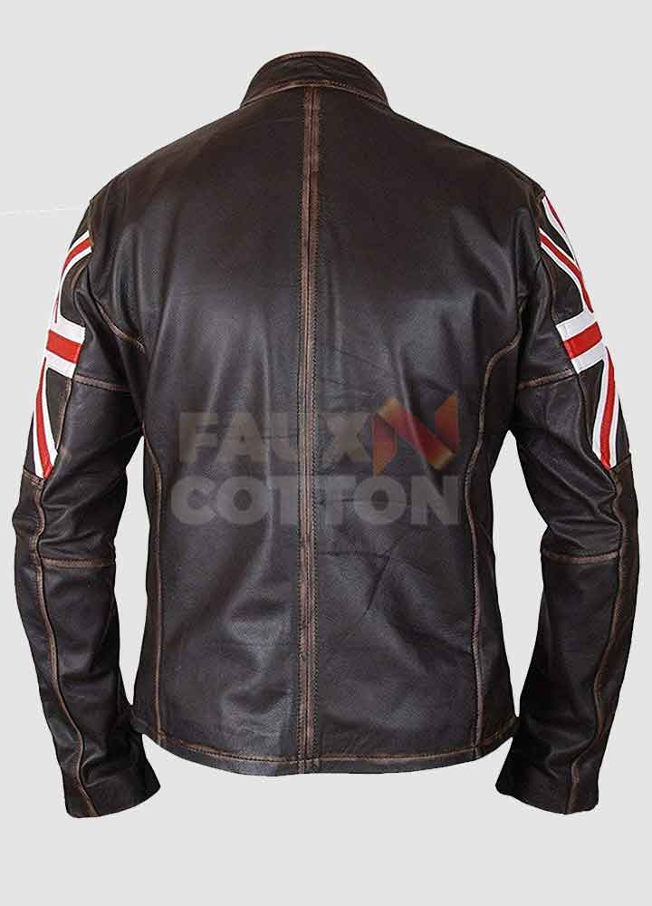 UK Flag Brown Distressed Leather Jacket