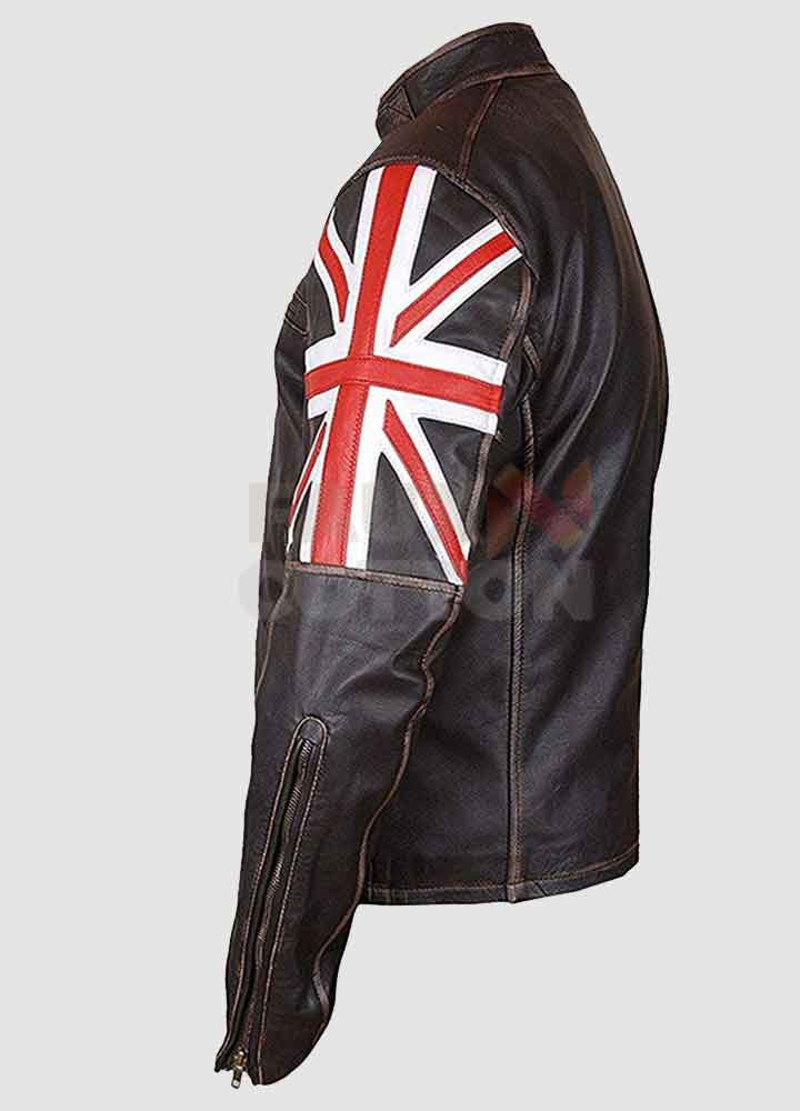 UK Flag Brown Distressed Leather Jacket