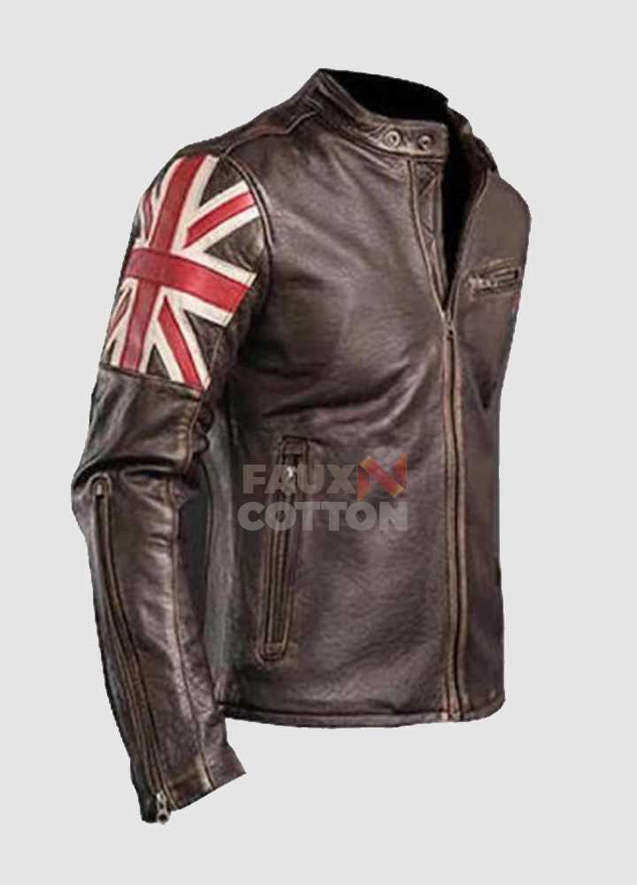UK Flag Genuine Leather Jacket