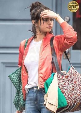 Selena Gomez A Rainy Day in New York Red Bomber Jacket