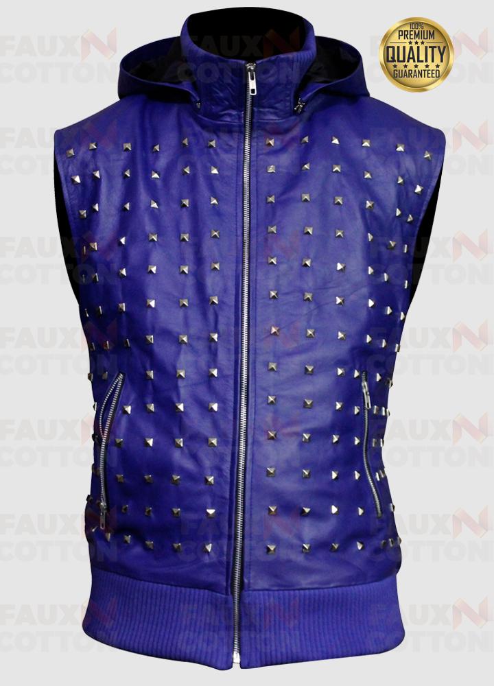 Justin Bieber Blue Studded Vest And Pant