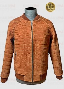 Crocodile Skin Brown Bomber Jacket