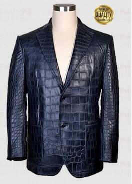 Exotic Alligator Leather Jacket In Black