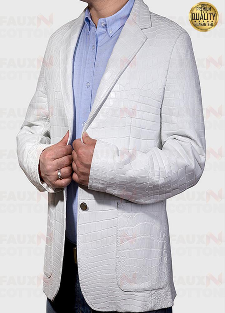 Exotic White Alligator Leather Jacket