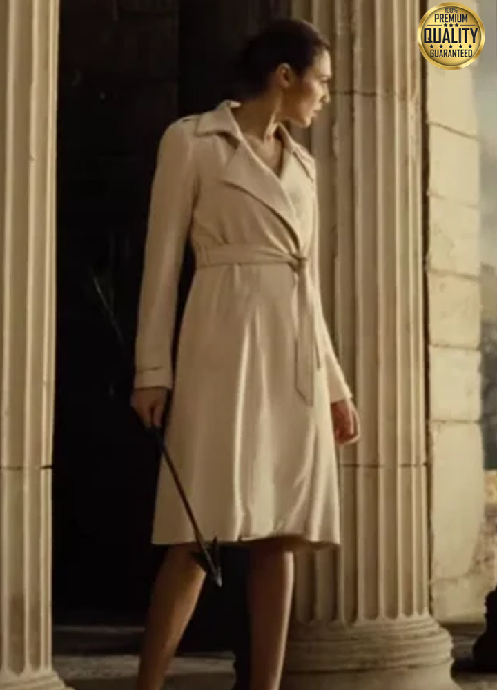 (Gal Gadot) Zack Snyder's Justice League White Trench Wool Coat