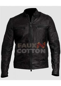 Men's Classic Black Cafe Racer Leather Jacket