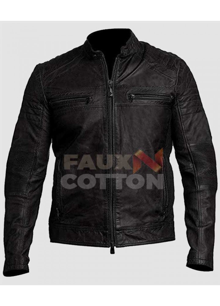 Men's Classic Black Cafe Racer Leather Jacket