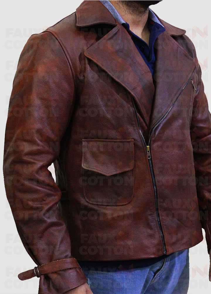 Captain America First Avenger Chris Evan Brown Leather Jacket