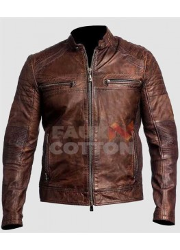 Cafe Racer Brown Motorcycle Genuine Leather Jacket