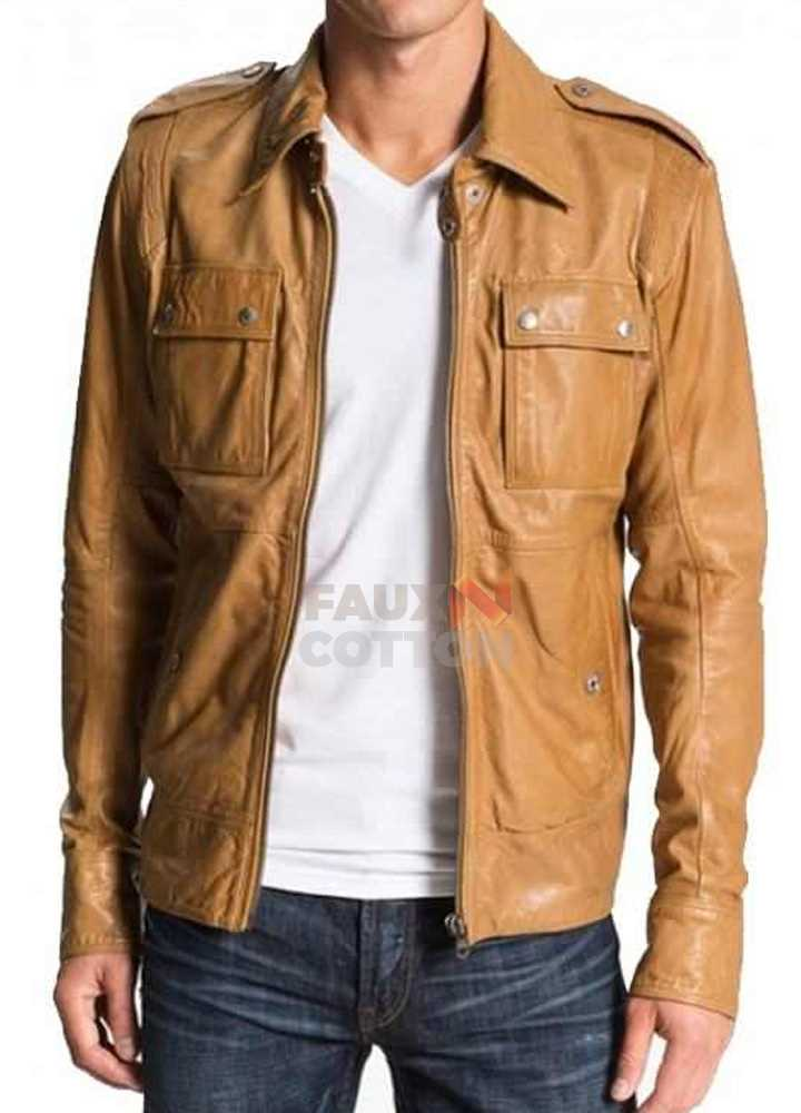 50 Cent Lisardo Tan Leather Jacket