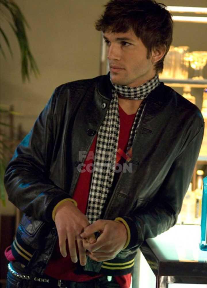 Ashton Kutcher Spread Nikki Black Bomber Jacket