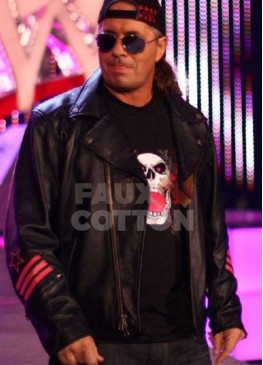 Bret Hitman Hart WWE Black Leather Jacket