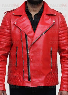 Slim Fit Red Quilted Biker Faux Leather Jacket