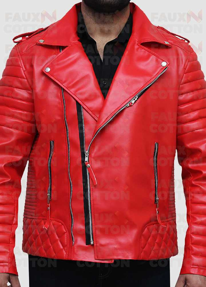 Red Quilted Biker Leather Jacket