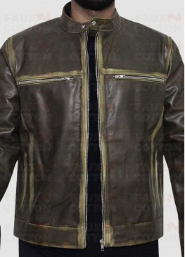 Vintage Cafe Racer Distressed Biker Jacket