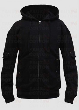 Men's Black Fleece Hoodie Jacket