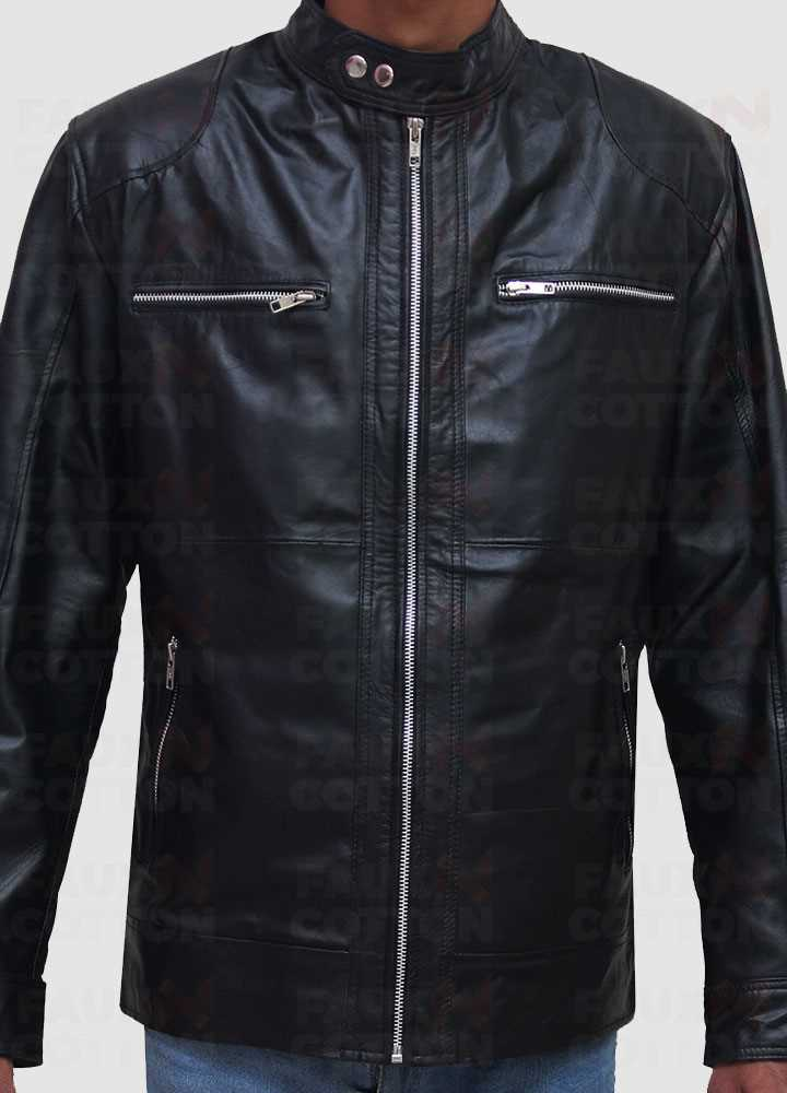 Men's slim fit black biker leather jacket