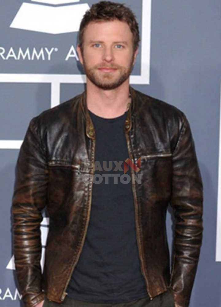 Dierks Bentley Grammy Awards Distressed Brown Leather Jacket