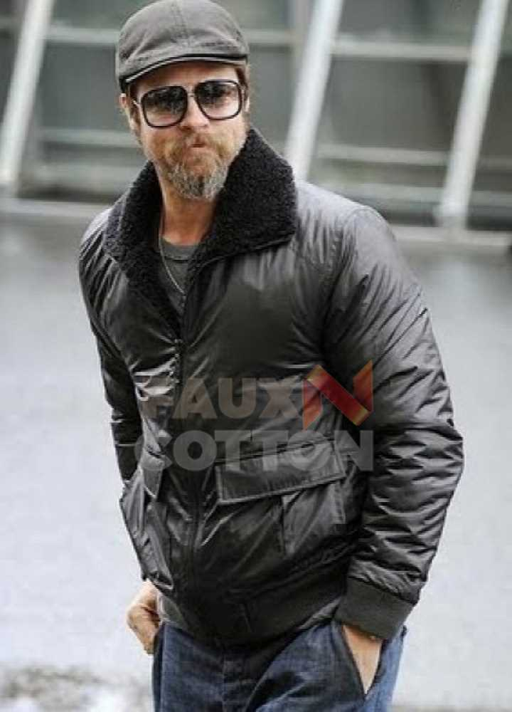 BLACK BOMBER BRAD PITT LEATHER JACKET