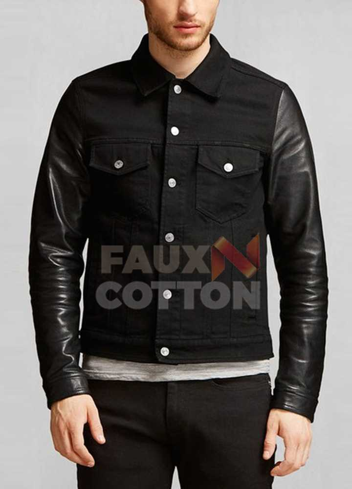 DAVID BECKHAM LEATHER SLEEVES BLACK JACKET