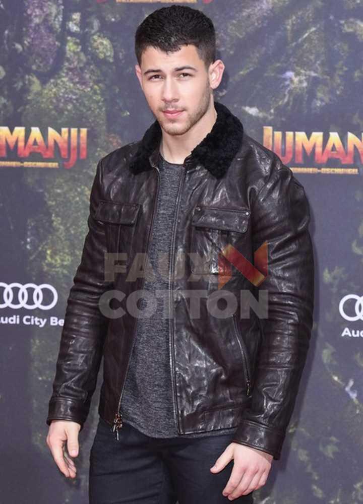 Jumanji Premiere Nick Jonas Fur Jacket