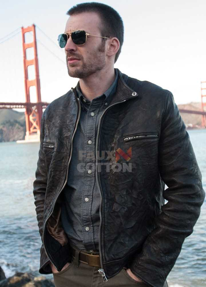 Playing it Cool Chris Evans Black Leather Jacket