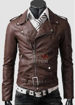 Slim Fit Belted Rider Light Brown Cowhide Jacket