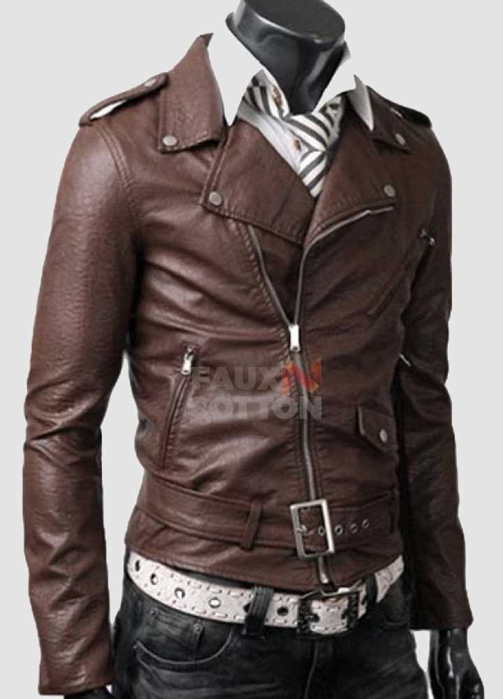 Slim Fit Belted Rider Light Brown Cowhide Jacket