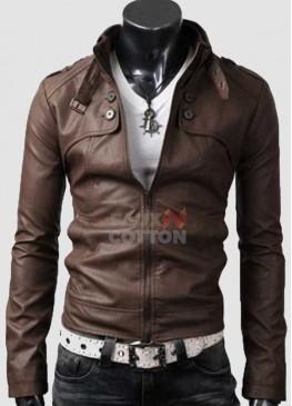 Slim Fit Belted Rider Pocket Light Brown Cowhide Jacket