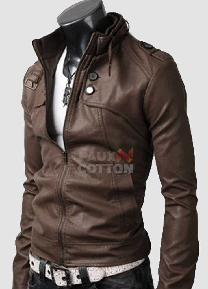 Slim Fit Belted Rider Pocket Light Brown Jacket