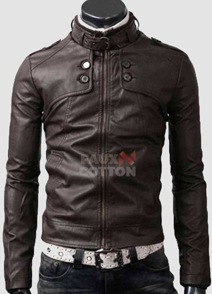 Slim Fit Belted Rider Pocket Dark Brown Jacket