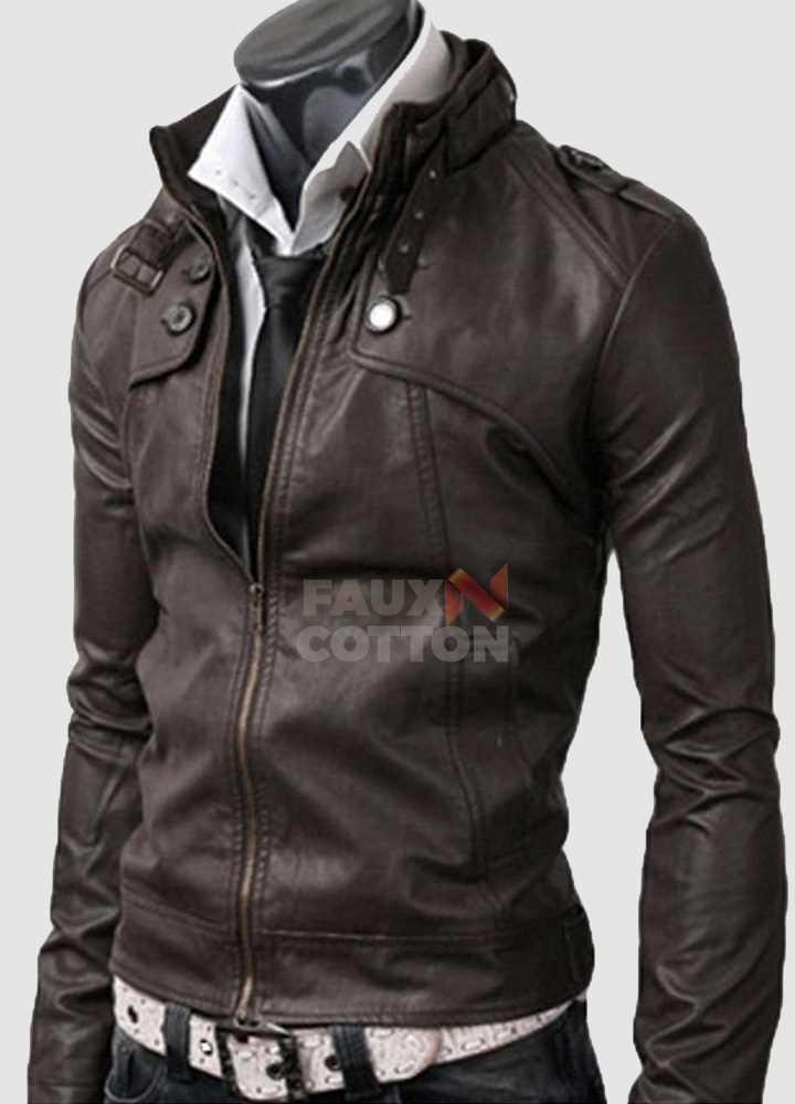 Slim Fit Belted Rider Pocket Dark Brown Cowhide Jacket