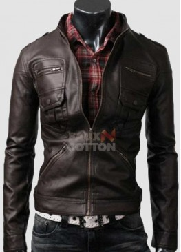 Slim Fit Belted Rider Zip Dark Brown Cowhide Jacket