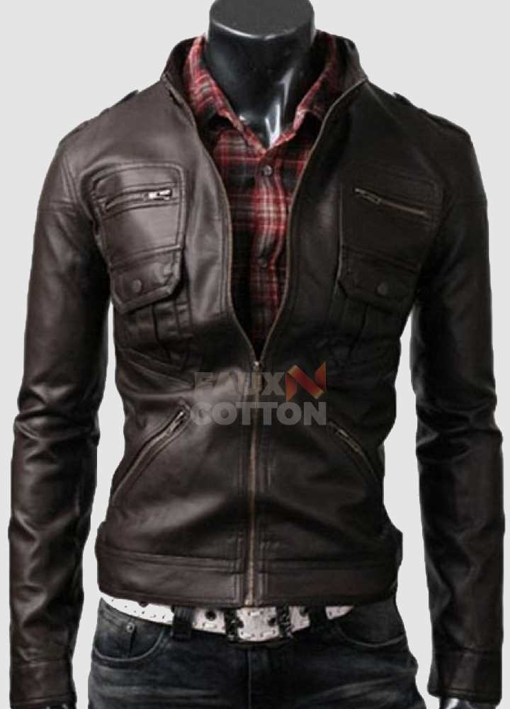 Slim Fit Belted Rider Zip Dark Brown Jacket