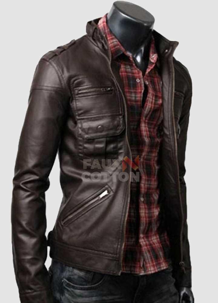 Slim Fit Belted Rider Zip Dark Brown Cowhide Jacket