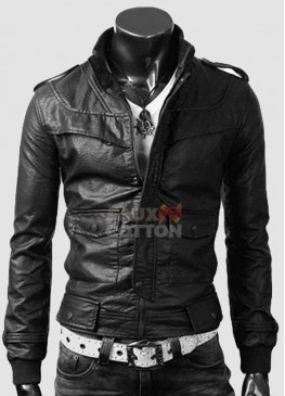Slim Fit Rocker Bomber Black Cowhide Jacket