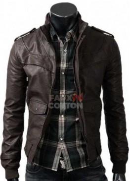 Slim Fit Rocker Brown Bomber Cowhide Leather Jacket